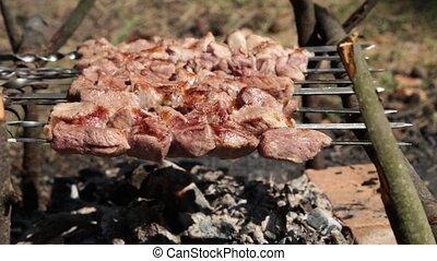 extérieur, grill., gril, hamburger, saucisse, chef cuistot,...