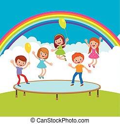 extérieur, groupe, sauter trampoline, heureux, enfants, secteurs
