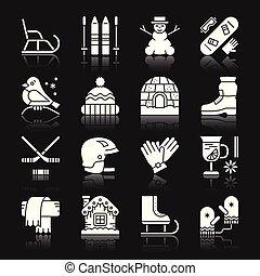 extérieur, hiver, ensemble, closhes, activité, amusement, sport, icône