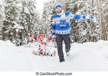 extérieur, hiver, famille, heureux