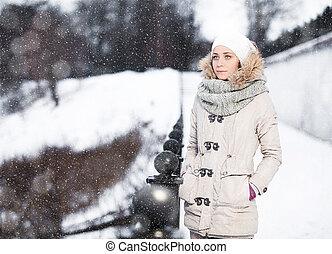 extérieur, hiver, jeune, mode, joli, portrait, girl