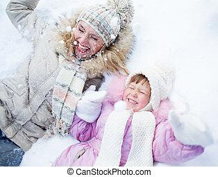 extérieur, hiver, parent, neige, gosse, mensonge, heureux