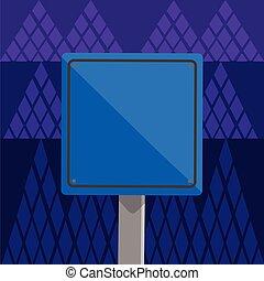extérieur, idée, signe, carrée, prudence, vide, warning., frontière, monté, voyage, créatif, bois, noir, 3d, coloré, jambe, fond, une, reflet, route, stand., guide, consultatif