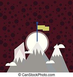 extérieur, idée, trois, vide, peak., au-delà, debout, neige, créatif, va, a, montagnes, success., coloré, drapeau, aventure, fond, une, haut, clouds., activité, petit