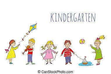 extérieur, illustration, jardin enfants, gosses, bannière, jouer