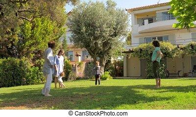 extérieur, jardin, famille, mères, concept., enfants,...