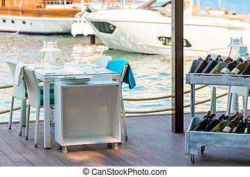 extérieur, jetée, yachts, cafés