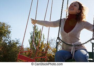 extérieur, loisir, girl, day., carousel., équitation, ...