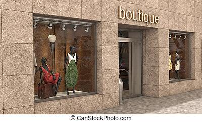 extérieur, magasin, illustration, 3d