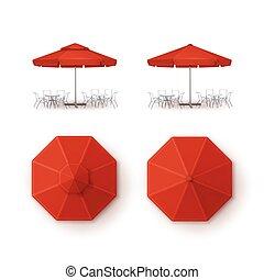 extérieur, marquer, ensemble, vide, fin, café, marché, sommet, isolé, plage blanche, railler, parapluie, pub, fond, barre, restaurant, haut, côté, vecteur, rouges, parasol, rond, patio, vue