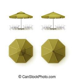 extérieur, marquer, ensemble, vide, fin, café, marché, sommet, isolé, plage, railler, parapluie, pub, fond, barre, restaurant, haut, côté, vecteur, vert, parasol, rond, patio, vue
