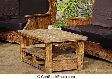 Photo de stock canap terrasse exotique jardin canap for Table exterieur solide