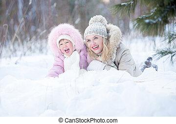 extérieur, neige, mère, heureux, mensonge, gosse