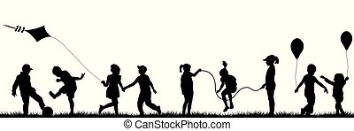 extérieur, noir, enfants jouer