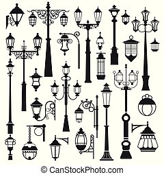 extérieur, objets, parc, isolé, rue, lanternes, éclairage...
