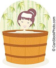 extérieur, onsen, illustration, bain, girl, baril
