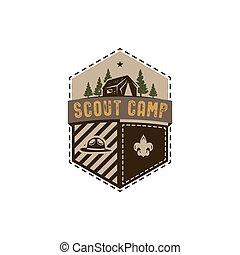 extérieur, palette., couleurs, patch., design., vendange, isolé, rustique, retro, dessiné, blanc, insigne, stockage, badge., main, scout, fond, illustration, camp, emblem., voyager, vecteur