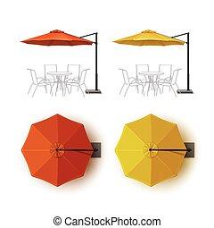 extérieur, parapluie, café, jaune, salon, orange, parasol