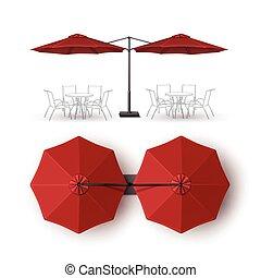 extérieur, parapluie, double, salon, patio, café, rouges