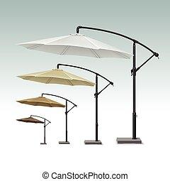 extérieur, parapluie, parasol, vide, café, plage, patio
