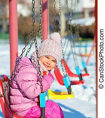 extérieur, parc, hiver, jour, enfant
