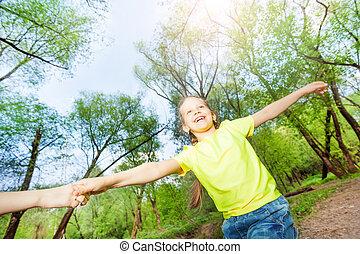 extérieur, parc, jeu, girl, jouer, heureux