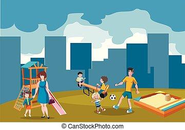 extérieur, parc, jouer, gosses