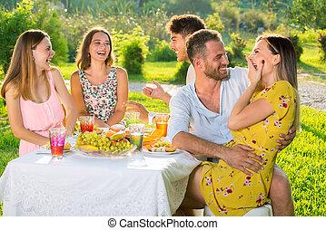 extérieur, pique-nique, jeune, park., apprécier, adolescent, fête, beau, amis