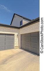 extérieur, portes, vertical, garage, cadre, angles, double, droit