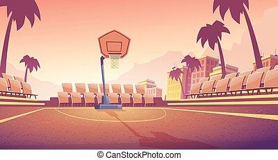 extérieur, rue, tribunal, vecteur, stade, basket-ball