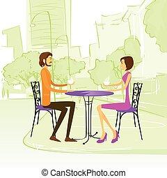 extérieur, séance, couple, rue, table, café