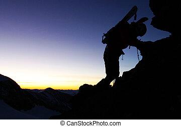 extérieur, silhouette, -, sport, grimpeur