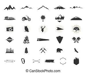 extérieur, simple, étiquettes, usage, silhouette, camping, icônes, designs., set., randonnée, isolé, autre, noir, logo, ressac, créer, pictograms, aventure, collection., formes, bundle., vecteur, montée, white.