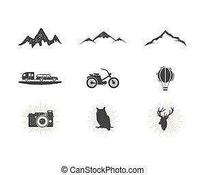 extérieur, simple, étiquettes, usage, silhouette, camping, icônes, designs., set., randonnée, isolé, autre, noir, logo, ressac, créer, pictograms, aventure, surfer, collection., formes, bundle., vecteur, white.