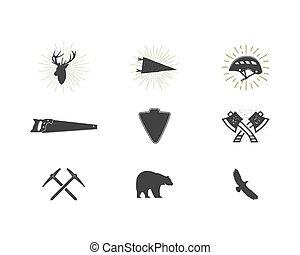 extérieur, simple, étiquettes, usage, silhouette, icônes, designs., set., randonnée, isolé, autre, noir, logo, ressac, créer, pictograms, aventure, collection., bûcheron, formes, bundle., vecteur, montée, white.