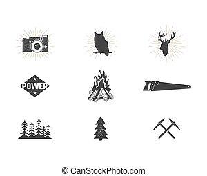 extérieur, simple, logo, usage, silhouette, camping, icônes, designs., set., randonnée, isolé, autre, noir, ressac, créer, pictograms, aventure, collection., formes, bundle., vecteur, montée, white.