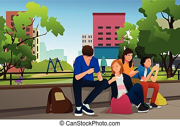 extérieur, téléphones, ados, illustration, leur, utilisation