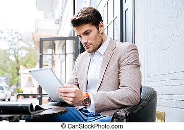extérieur, tablette, jeune, pc, toucher, café, homme