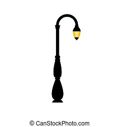 extérieur, vendange, arrière-plan., vecteur, retro, lamp., éclairage public, blanc