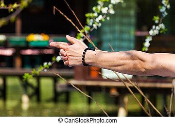 extérieur, yoga, mudra, symbolique, closeup, mains, coup, geste, homme