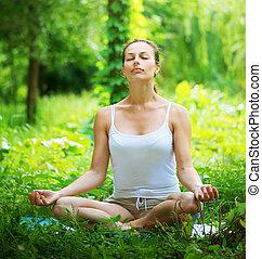 extérieur, yoga, yoga., jeune femme, exercice