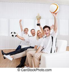 extatisk, familj, celebrera en seger