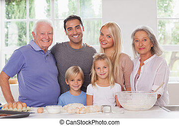 Extended family baking portrait