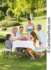 Extended family dining at outdoor table - Side view of...