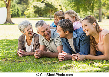 Extended family lying on grass in park - Portrait of an...