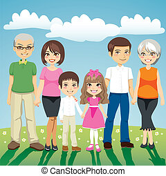 Extended Family - Portrait of six people extended family...