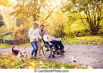 Extended family with dog on a walk in autumn nature.