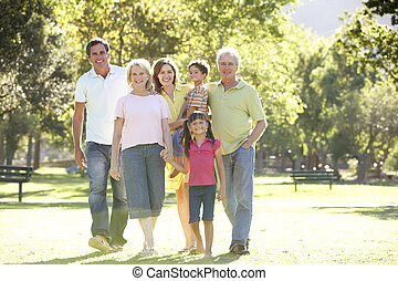 Extended Group Portrait Of Family Enjoying Walk In Park