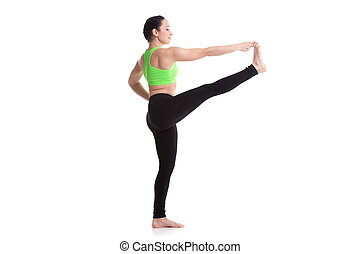 Extended Hand-To-Big-Toe yoga pose - Sporty girl on white...