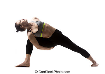 low lunge exercise portrait of happy sporty beautiful